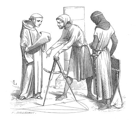 Ilustración de arquitectos medievales